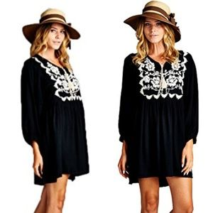 Black with Embroidery Tunic/Dress 2X ONLY LEFT!
